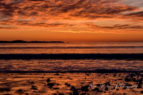 Orange sunset on water
